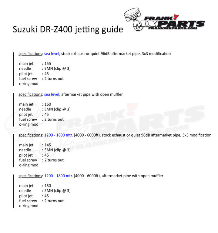 Suzuki DR-Z400 jetting kit / Keihin FCR carburetor