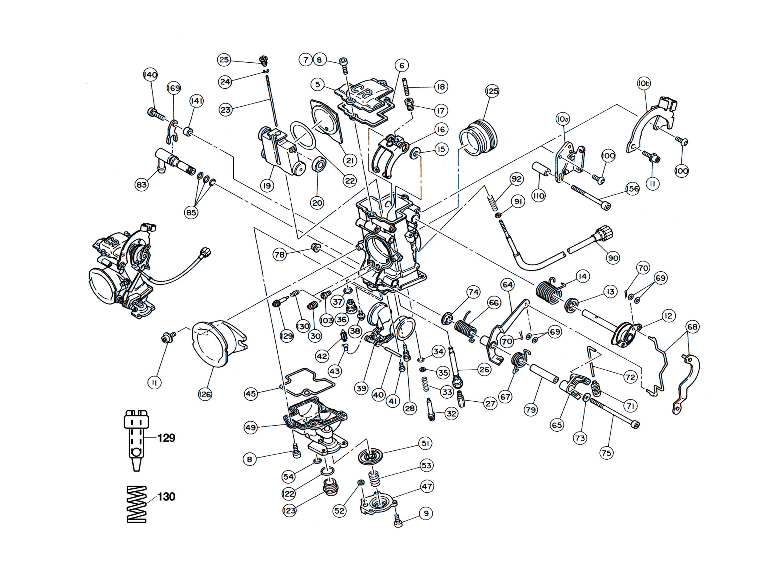 Keihin FCR 28 33 35 37 39 41 Flatslide Carburetor Parts Diagram on Harley Davidson Engine Diagram